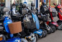 mobility scooters outside