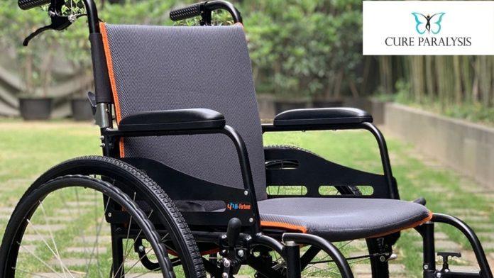 featherweight wheelchair in garden