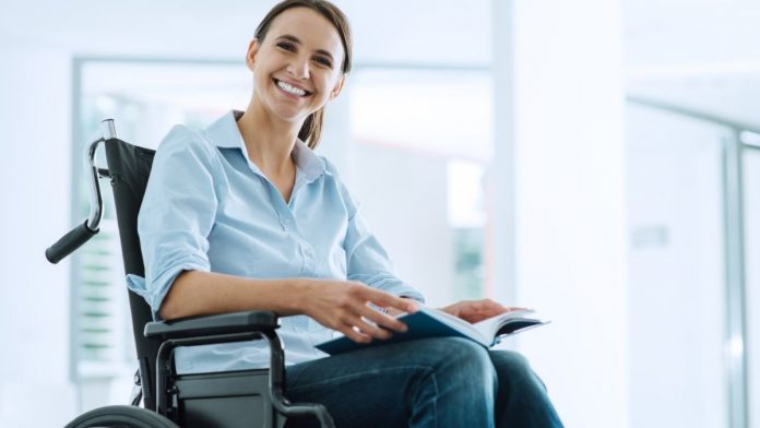 woman sitting in quickie wheelchair