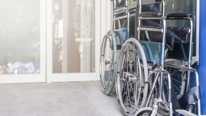 Transport wheelchairs outside a hospital